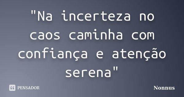 """""""Na incerteza no caos caminha com confiança e atenção serena""""... Frase de Nonnus."""