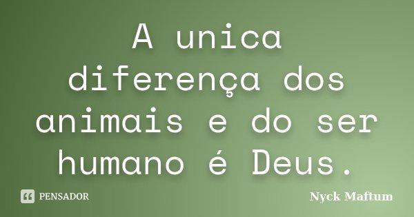 A unica diferença dos animais e do ser humano é Deus.... Frase de Nyck Maftum.