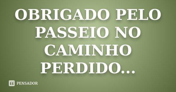 OBRIGADO PELO PASSEIO NO CAMINHO PERDIDO...... Frase de Desconhecido.
