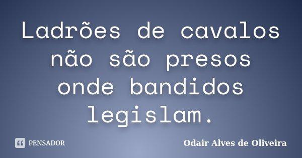 Ladrões de cavalos não são presos onde bandidos legislam.... Frase de Odair Alves de Oliveira.