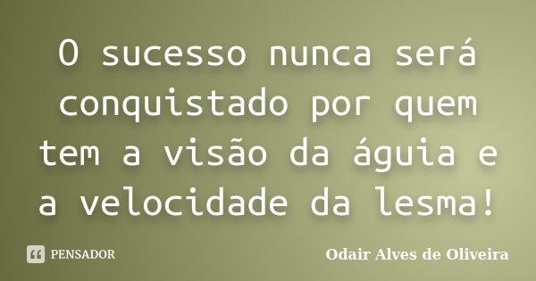 O sucesso nunca será conquistado por quem tem a visão da águia e a velocidade da lesma!... Frase de Odair Alves de Oliveira.