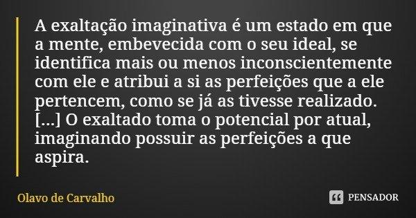 A exaltação imaginativa é um estado em que a mente, embevecida com o seu ideal, se identifica mais ou menos inconscientemente com ele e atribui a si as perfeiçõ... Frase de Olavo de Carvalho.