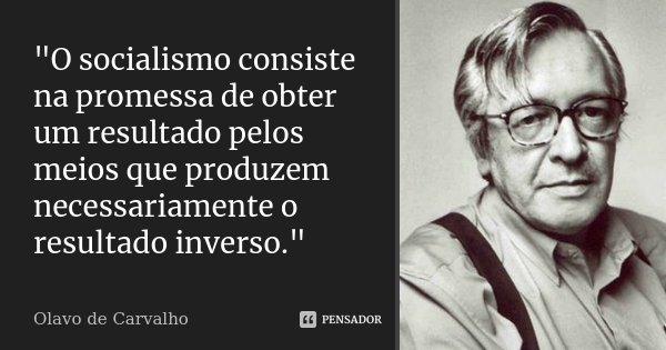 """""""O socialismo consiste na promessa de obter um resultado pelos meios que produzem necessariamente o resultado inverso.""""... Frase de Olavo de Carvalho."""