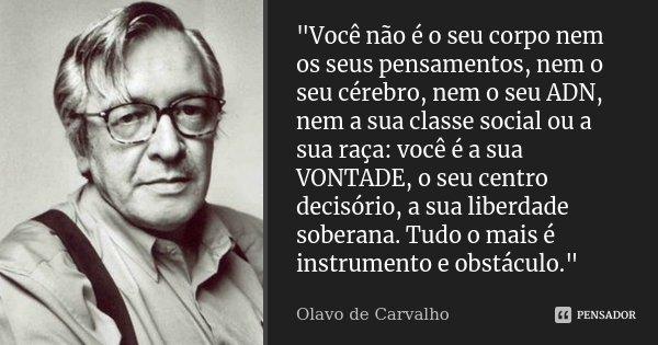 """""""Você não é o seu corpo nem os seus pensamentos, nem o seu cérebro, nem o seu ADN, nem a sua classe social ou a sua raça: você é a sua VONTADE, o seu centr... Frase de Olavo de Carvalho."""