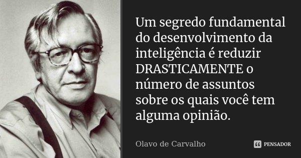 Um segredo fundamental do desenvolvimento da inteligência é reduzir drasticamente o número de assuntos sobre os quais você tem alguma opinião.... Frase de Olavo de Carvalho.