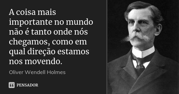 A coisa mais importante no mundo não é tanto onde nós chegamos, como em qual direção estamos nos movendo.... Frase de Oliver Wendell Holmes.