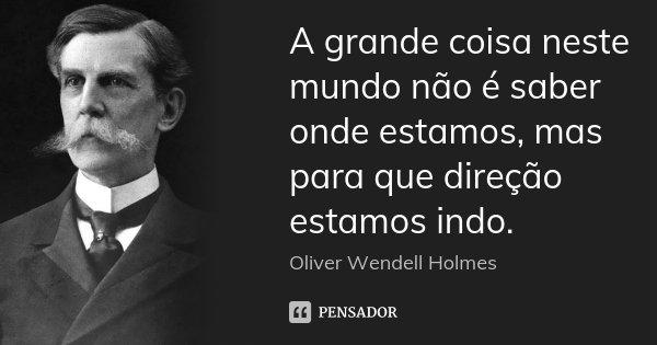 A grande coisa neste mundo não é saber onde estamos, mas para que direção estamos indo.... Frase de Oliver Wendell Holmes.
