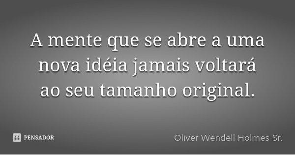 A mente que se abre a uma nova idéia jamais voltará ao seu tamanho original.... Frase de Oliver Wendell Holmes Sr..