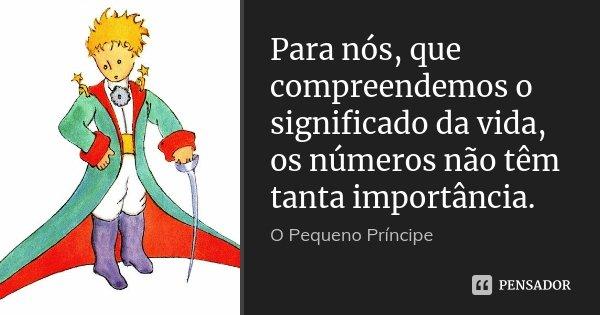 Para nós, que compreendemos o significado da vida, os números não têm tanta importância.... Frase de O pequeno príncipe.