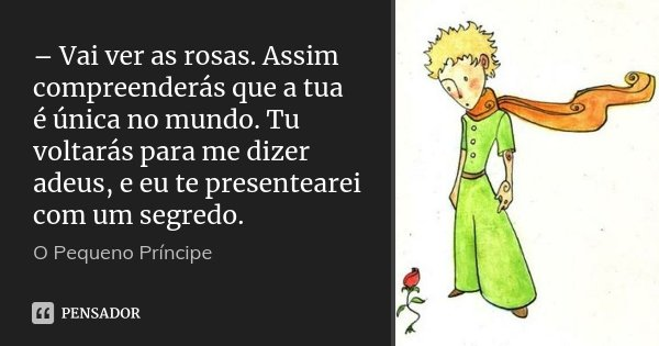 – Vai ver as rosas. Assim compreenderás que a tua é única no mundo. Tu voltarás para me dizer adeus, e eu te presentearei com um segredo.... Frase de O pequeno Príncipe.