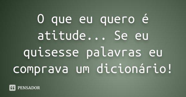 O que eu quero é atitude... Se eu quisesse palavras eu comprava um dicionário!... Frase de desconhecido.