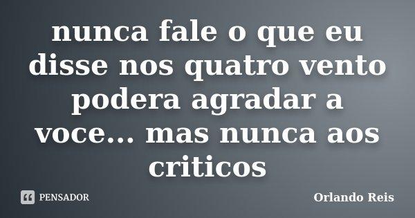 nunca fale o que eu disse nos quatro vento podera agradar a voce... mas nunca aos criticos... Frase de Orlando Reis.