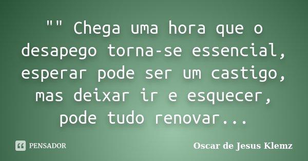 """"""""""" Chega uma hora que o desapego torna-se essencial, esperar pode ser um castigo, mas deixar ir e esquecer, pode tudo renovar...... Frase de Oscar de Jesus Klemz."""