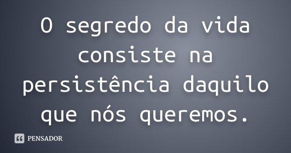 O segredo da vida consiste na persistência daquilo que nós queremos.... Frase de Desconhecido.