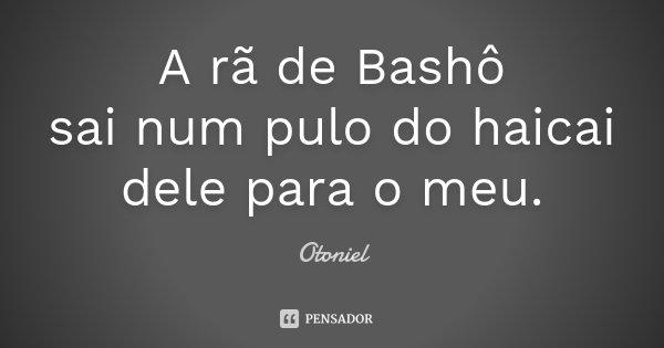 A rã de Bashô sai num pulo do haicai dele para o meu.... Frase de Otoniel.