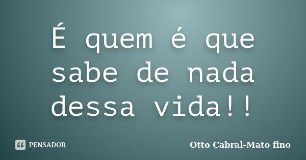 É quem é que sabe de nada dessa vida!!... Frase de Otto Cabral-Mato fino.