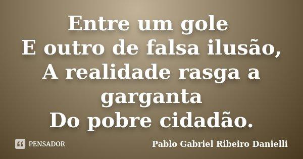 Entre um gole E outro de falsa ilusão, A realidade rasga a garganta Do pobre cidadão.... Frase de Pablo Gabriel Ribeiro Danielli.