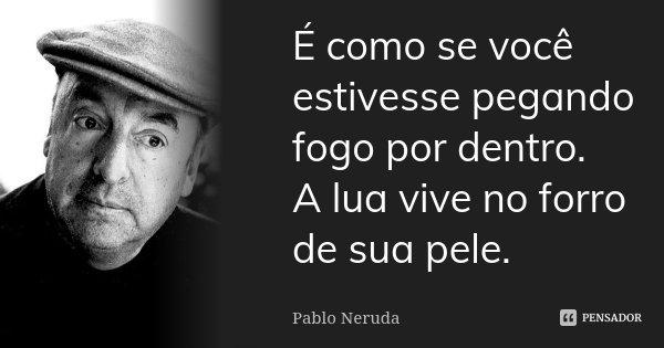 É como se você estivesse pegando fogo por dentro. A lua vive no forro de sua pele.... Frase de Pablo Neruda.