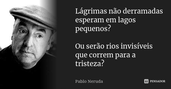 Lágrimas não derramadas esperam em lagos pequenos? Ou serão rios invisíveis que correm para a tristeza?... Frase de Pablo Neruda.