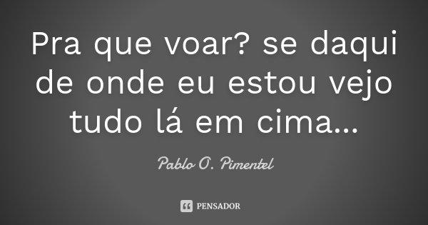 Pra que voar? se daqui de onde eu estou vejo tudo lá em cima...... Frase de Pablo O. Pimentel.