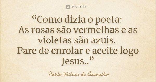 """""""Como dizia o poeta: As rosas são vermelhas e as violetas são azuis. Pare de enrolar e aceite logo Jesus..""""... Frase de Pablo Willian de Carvalho."""