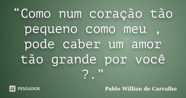 """""""Como num coração tão pequeno como meu , pode caber um amor tão grande por você ?.""""... Frase de Pablo Willian de Carvalho."""