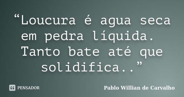 """""""Loucura é agua seca em pedra líquida. Tanto bate até que solidifica..""""... Frase de Pablo Willian de Carvalho."""