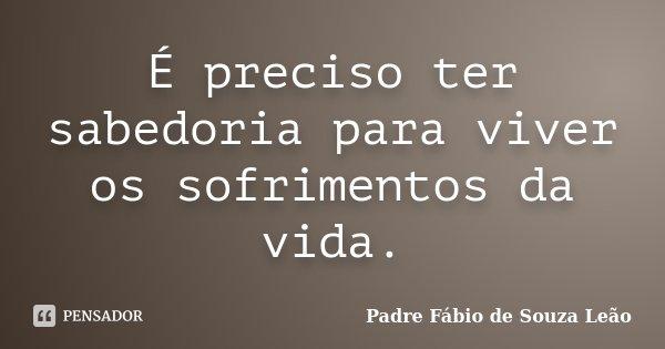 É preciso ter sabedoria para viver os sofrimentos da vida.... Frase de Padre Fábio de Souza Leão.