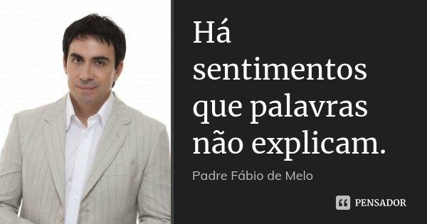 Há sentimentos que palavras não explicam.... Frase de Padre Fábio de Melo.