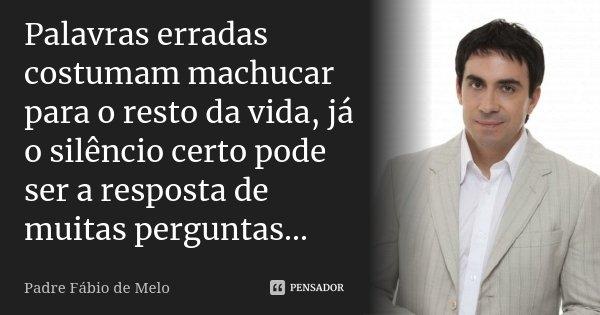 Palavras Erradas Costumam Machucar Para Padre Fábio De Melo