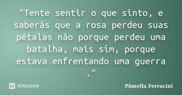 """""""Tente sentir o que sinto, e saberás que a rosa perdeu suas pétalas não porque perdeu uma batalha, mais sim, porque estava enfrentando uma guerra .""""... Frase de Pâmella Ferracini."""