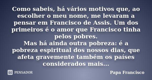 Como sabeis, há vários motivos que, ao escolher o meu nome, me levaram a pensar em Francisco de Assis. Um dos primeiros é o amor que Francisco tinha pelos pobre... Frase de Papa Francisco.