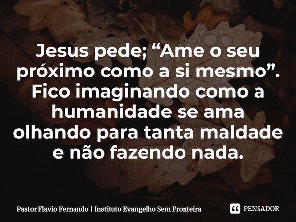 """Jesus pede; """"Ame o seu próximo como a si mesmo"""". Fico imaginando como a humanidade se ama olhando para tanta maldade e não fazendo nada.... Frase de Pastor Flavio Fernando  Instituto Evangelho Sem Fronteira."""