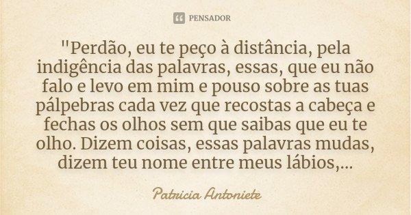 """""""Perdão, eu te peço à distância, pela indigência das palavras, essas, que eu não falo e levo em mim e pouso sobre as tuas pálpebras cada vez que recostas a... Frase de Patricia Antoniete."""