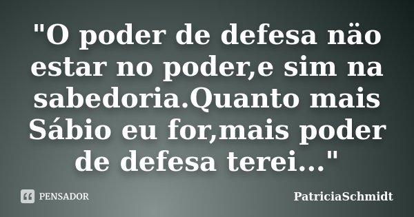 """""""O poder de defesa näo estar no poder,e sim na sabedoria.Quanto mais Sábio eu for,mais poder de defesa terei...""""... Frase de PatriciaSchmidt."""