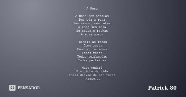 A Rosa A Rosa sem pétalas Desnuda a rosa Sem campo, sem relva A rosa sem rosa Só caule e folhas A rosa morta Olhais as rosas Como rosas Comuns, incomuns Todas r... Frase de Patrick 80.