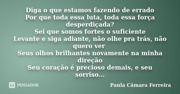 Diga o que estamos fazendo de errado Por que toda essa luta, toda essa força desperdiçada? Sei que somos fortes o suficiente Levante e siga adiante, não olhe pr... Frase de Paula Câmara Ferreira.