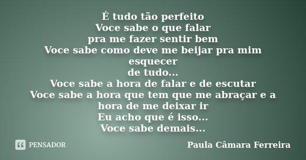É tudo tão perfeito Voce sabe o que falar pra me fazer sentir bem Voce sabe como deve me beijar pra mim esquecer de tudo... Voce sabe a hora de falar e de escut... Frase de Paula Câmara Ferreira.