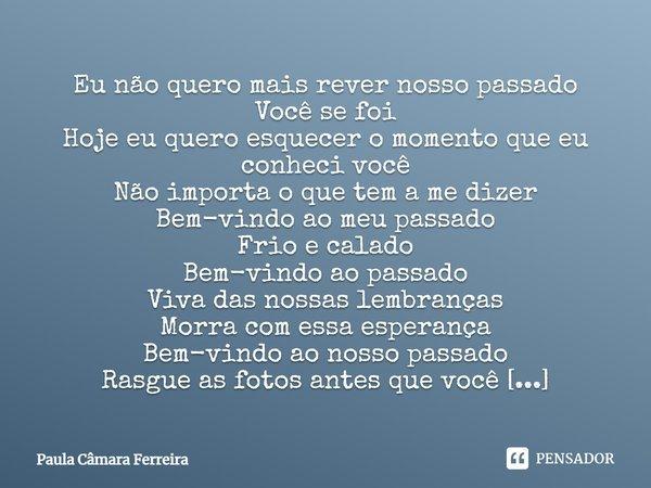 Eu não quero mais rever nosso passado Você se foi Hoje eu quero esquecer o momento que eu conheci você Não importa o que tem a me dizer Bem vindo ao meu passado... Frase de Paula Camara Ferreira.