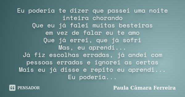 Eu poderia te dizer que passei uma noite inteira chorando Que eu já falei muitas besteiras em vez de falar eu te amo Que já errei, que já sofri Mas, eu aprendi.... Frase de Paula Câmara Ferreira.