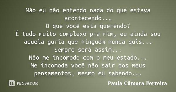 Não eu não entendo nada do que estava acontecendo... O que você esta querendo? É tudo muito complexo pra mim, eu ainda sou aquela guria que ninguém nunca quis..... Frase de Paula Câmara Ferreira.