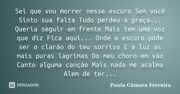 Sei que vou morrer nesse escuro Sem você Sinto sua falta Tudo perdeu a graça... Queria seguir em frente Mais tem uma voz que diz Fica aqui... Onde o escuro pode... Frase de Paula Câmara Ferreira.