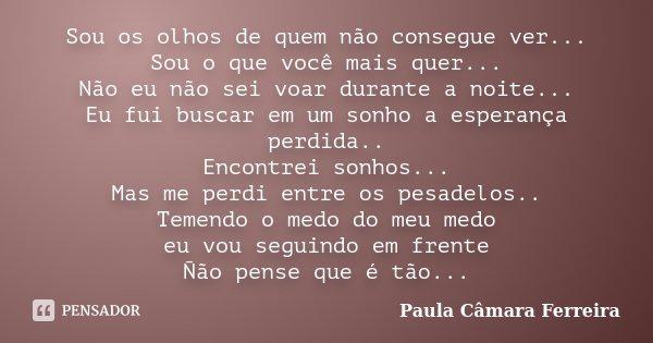 Sou os olhos de quem não consegue ver... Sou o que você mais quer... Não eu não sei voar durante a noite... Eu fui buscar em um sonho a esperança perdida.. Enco... Frase de Paula Câmara Ferreira.