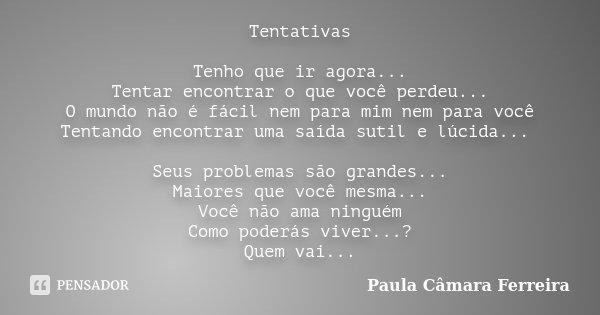 Tentativas Tenho que ir agora... Tentar encontrar o que você perdeu... O mundo não é fácil nem para mim nem para você Tentando encontrar uma saída sutil e lúcid... Frase de Paula Câmara Ferreira.