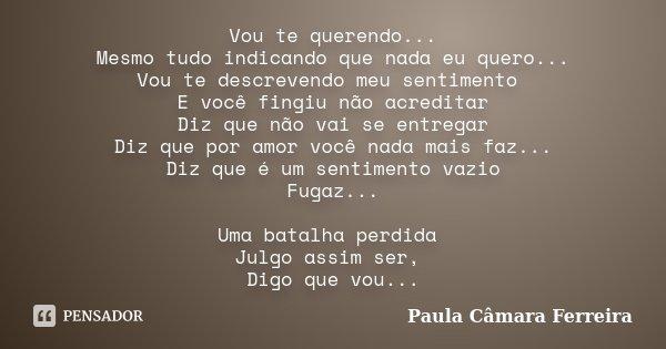 Vou te querendo... Mesmo tudo indicando que nada eu quero... Vou te descrevendo meu sentimento E você fingiu não acreditar Diz que não vai se entregar Diz que p... Frase de Paula Câmara Ferreira.