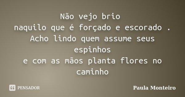 Não vejo brio naquilo que é forçado e escorado . Acho lindo quem assume seus espinhos e com as mãos planta flores no caminho... Frase de Paula Monteiro.