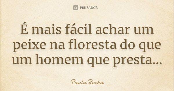 É mais fácil achar um peixe na floresta do que um homem que presta...... Frase de Paula Rocha.