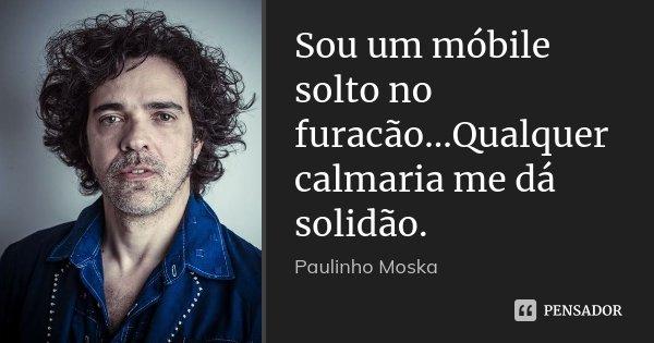 Sou um móbile solto no furacão...Qualquer calmaria me dá solidão.... Frase de Paulinho Moska.