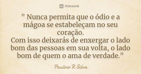 """"""" Nunca permita que o ódio e a mágoa se estabeleçam no seu coração. Com isso deixarás de enxergar o lado bom das pessoas em sua volta, o lado bom de quem o... Frase de Paulino R Silva."""