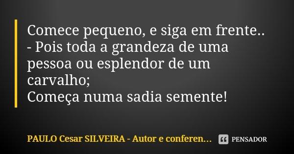 Comece pequeno, e siga em frente.. - Pois toda a grandeza de uma pessoa ou esplendor de um carvalho; Começa numa sadia semente!... Frase de PAULO Cesar SILVEIRA - Autor e conferencista e escritor.